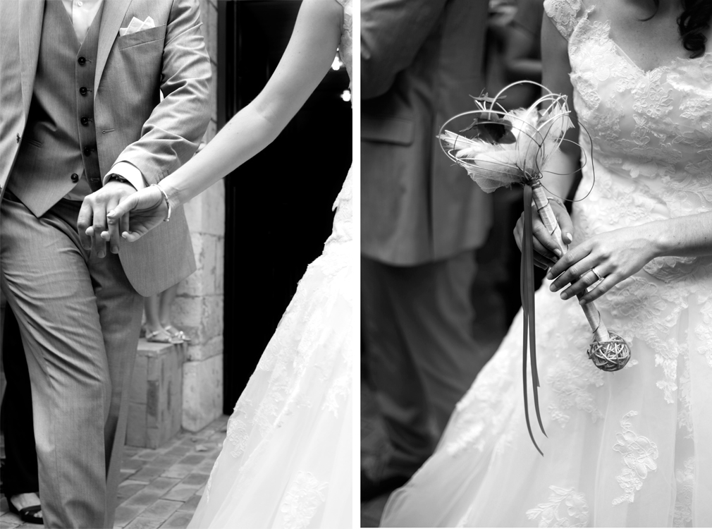 dyptique des mains des mariés avec bague