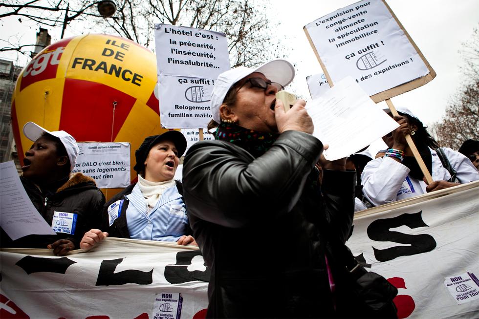 Manifestation pour le logement et contre les expulsions à Paris : .