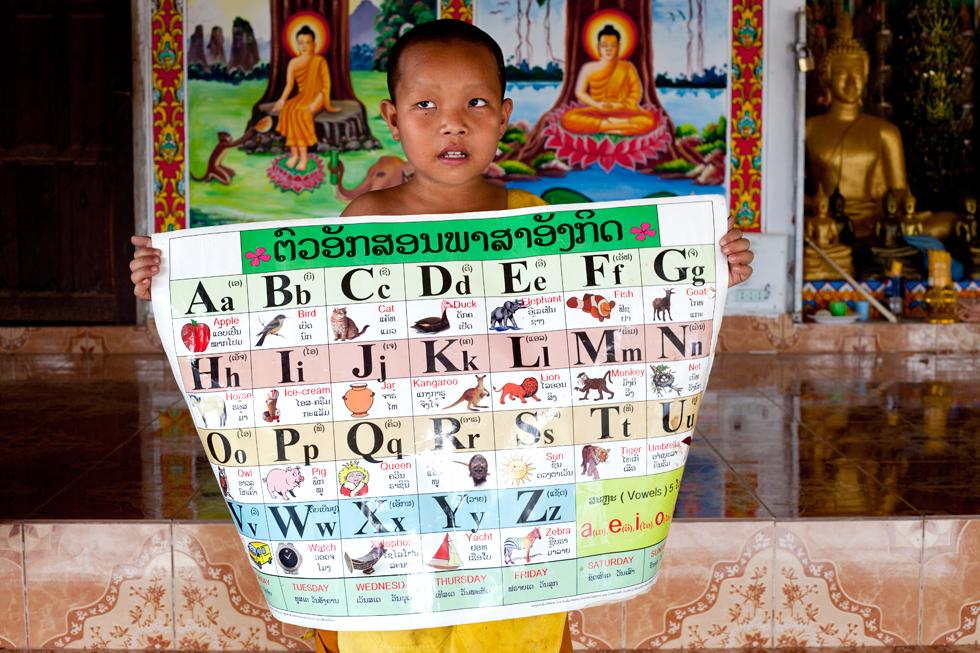 Jeune Bonze à Vang Vieng Laos : .