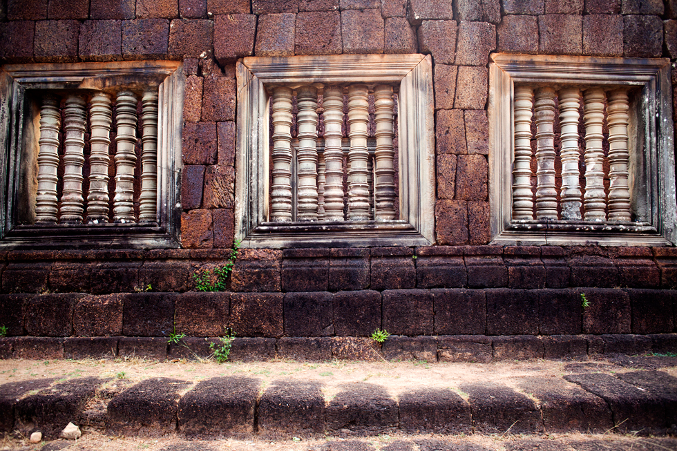 Fenêtres d'un temple d'Angkor à Siem Reap, Cambodge : .