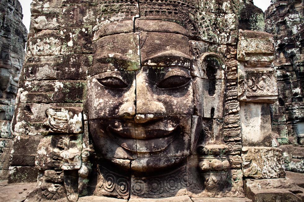 Tête de Bouddha à Angkor, Siem Reap, Cambodge : .