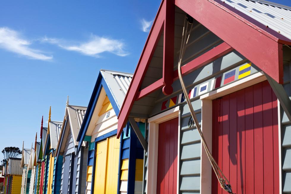 Cabanons en bord de Plage à Brighton Beach Melbourne : .
