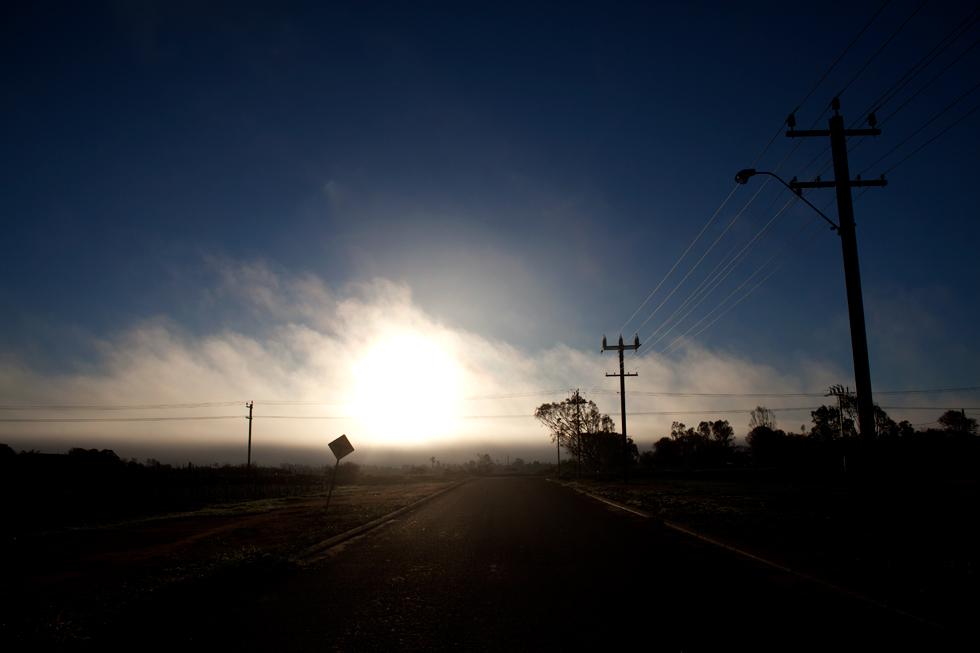 Brume matinale sur Carnarvon, Western Australia : .