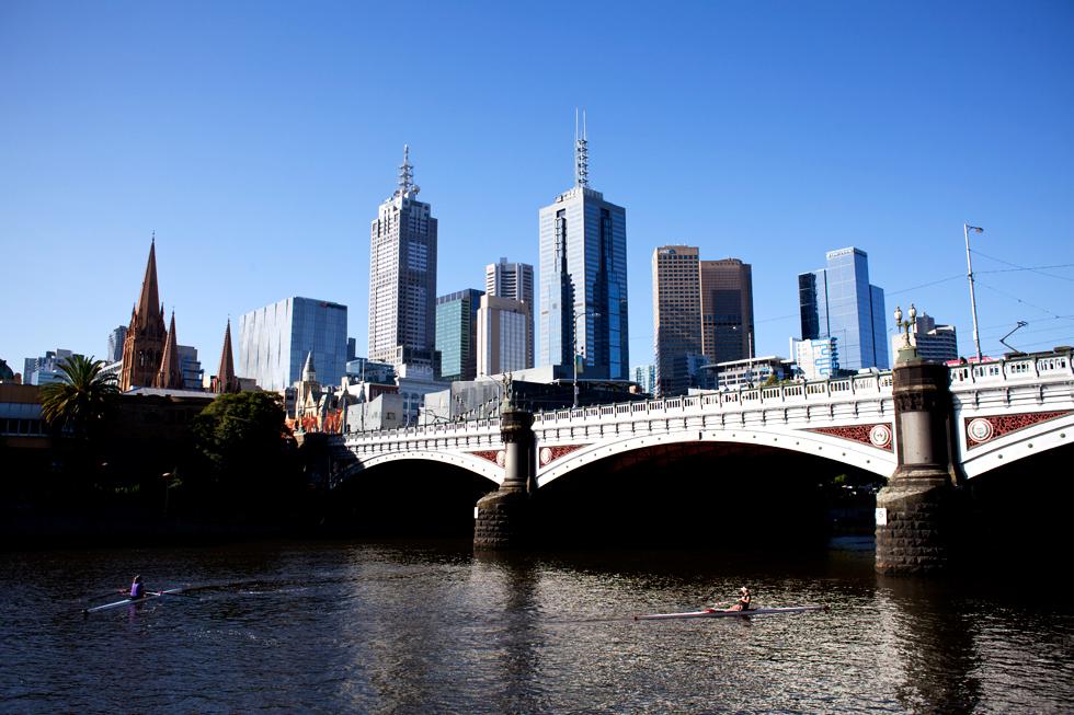 Vue sur le CBD, Southbank à Melbourne : .