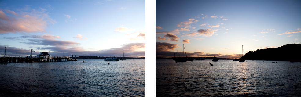 Coucher de soleil sur Russell, Nouvelle Zelande : .