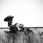 femme avec parapluie assise sur racines et tronc d'arbres