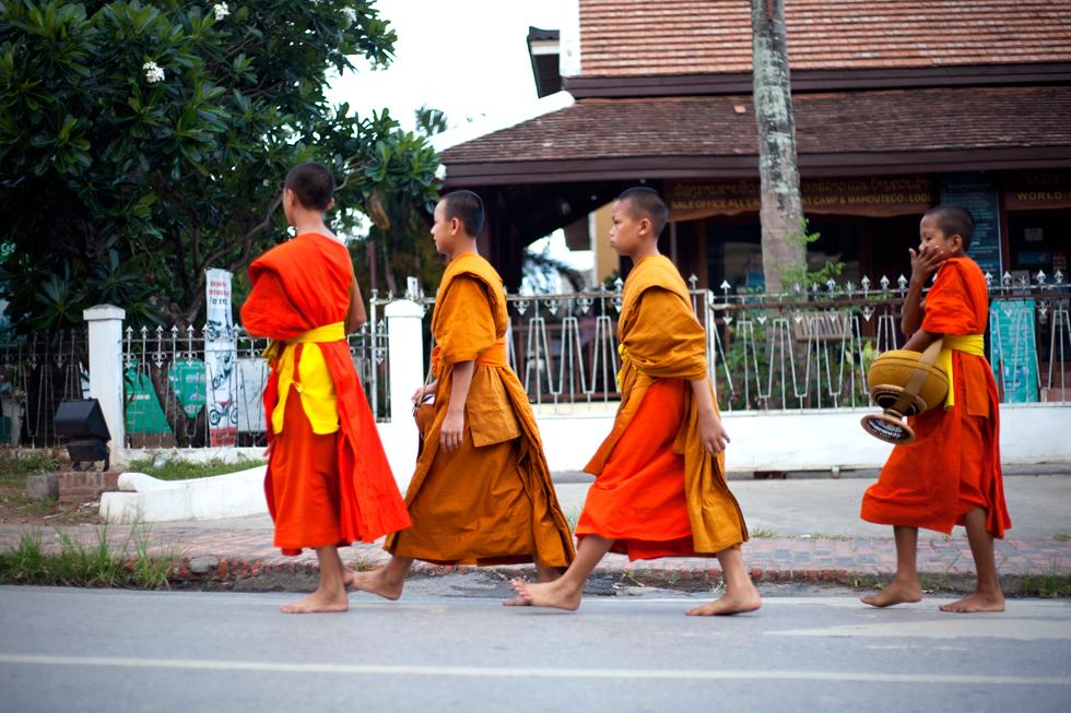 jeunes moines bouddhiste luang prabang laos