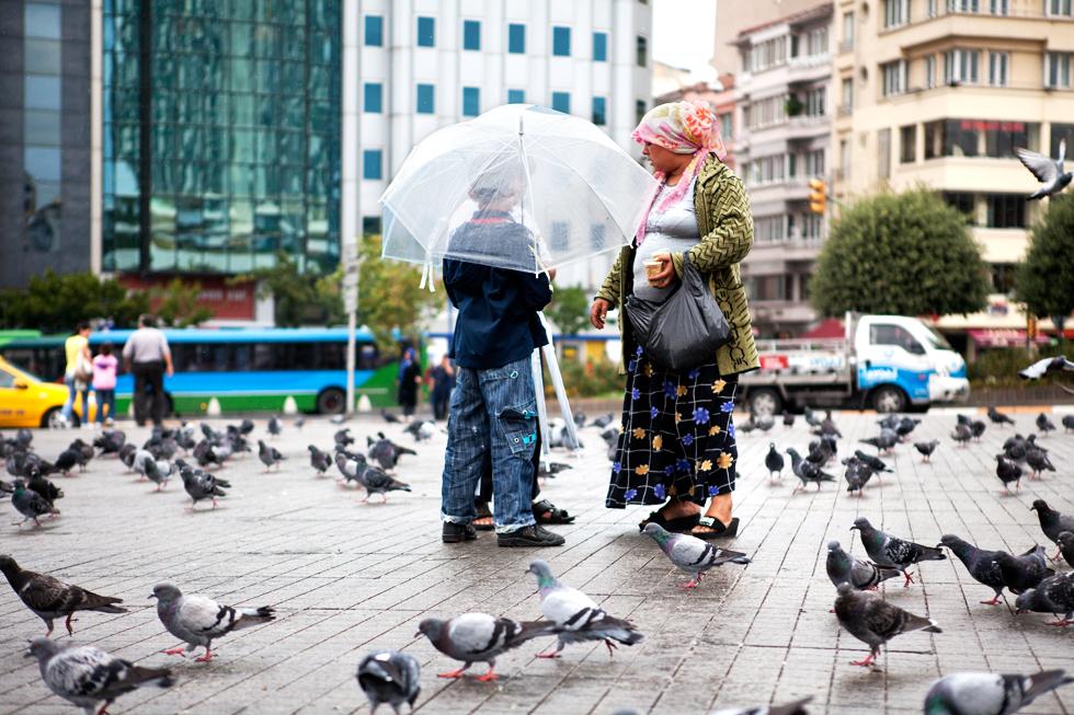 enfants avec parapluie sur place avec pigeon