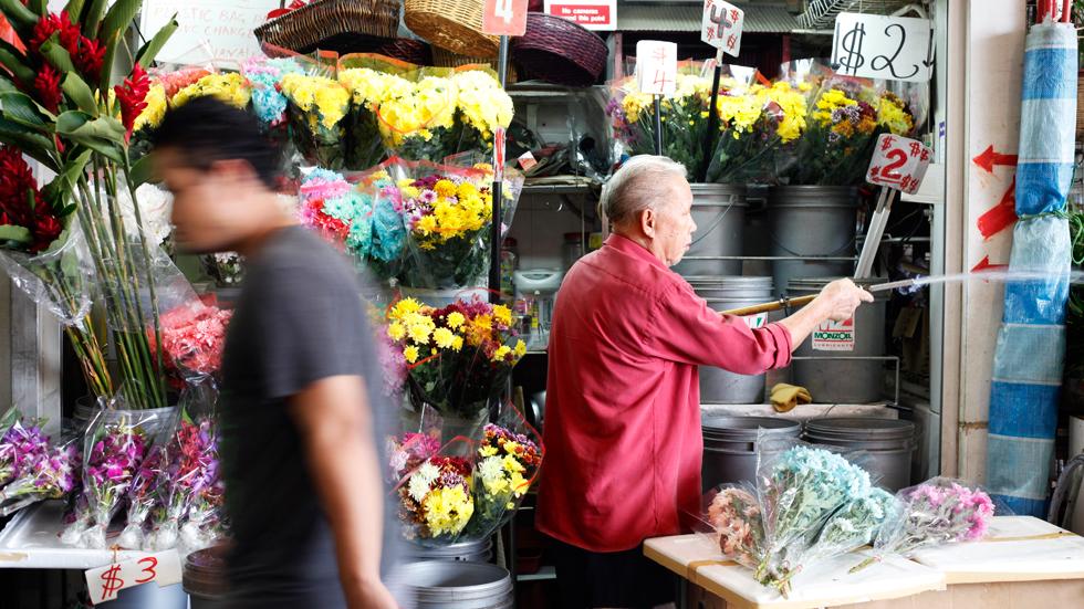 Fleuriste au Marché couvert de Little India à Singapour : .