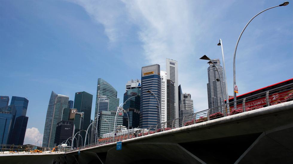 Vue sur le CBD dans la baie de Singapour : .