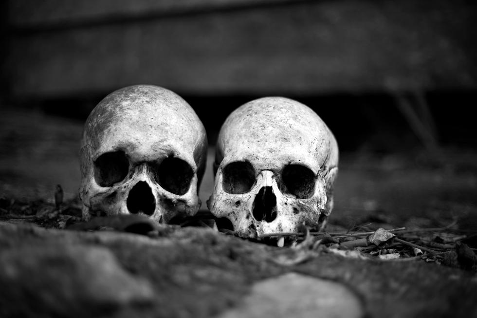 Crânes dans un cimetière Toraja en Sulawesie, Indonésie : .