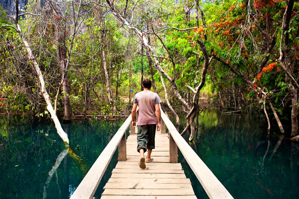 Tinou au Blue Lagoon, Boucle de Thakhek au Laos : .