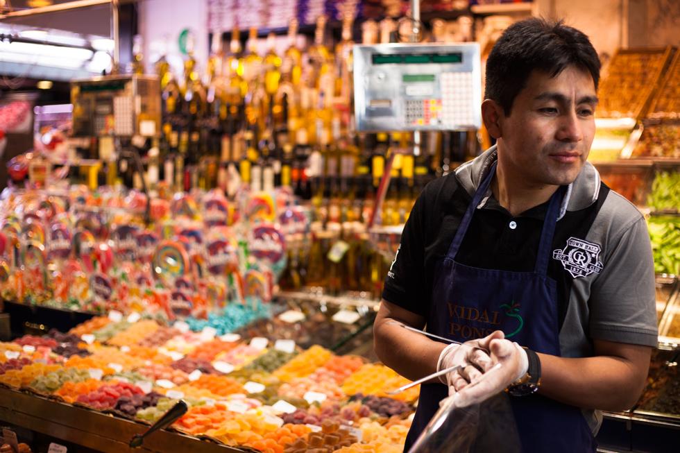 vendeur de bonbons marché barcelone